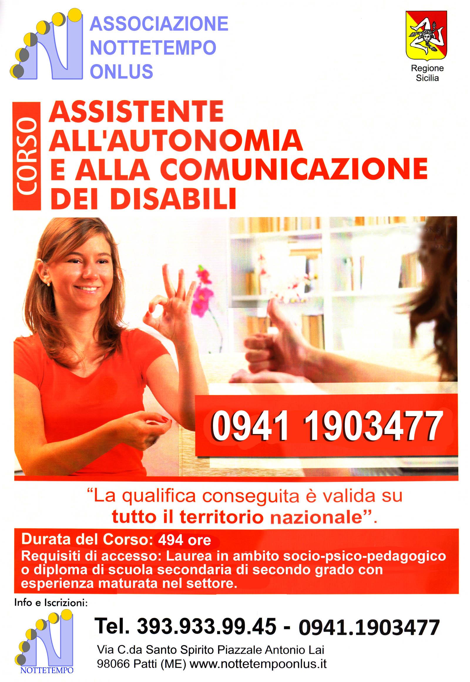 Corso per Assistente all'Autonomia ed alla comunicazione dei disabili